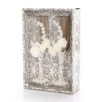 Практичный Бутик 2 шт./компл. Свадебные стеклянные es персонализированные шампанские флейты кристаллические вечерние подарочные поджарки с...