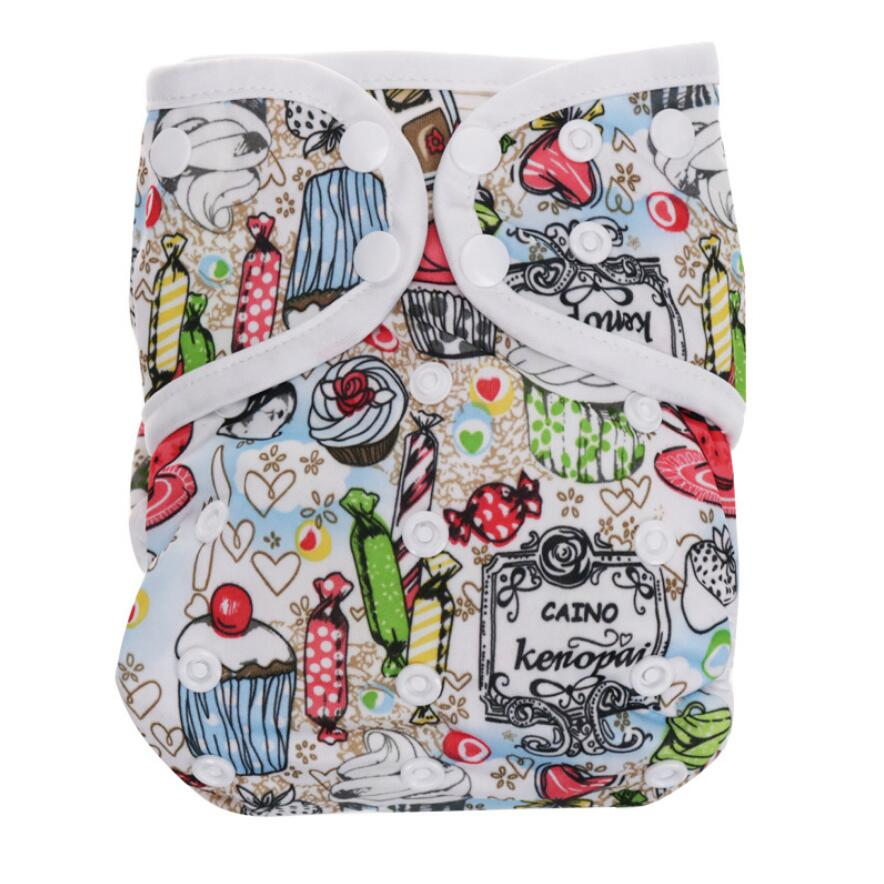Covered One-piece Cloth Diaper Leak-proof Washable Adjustable Diaper Pocket Including 2pcs Insert D40