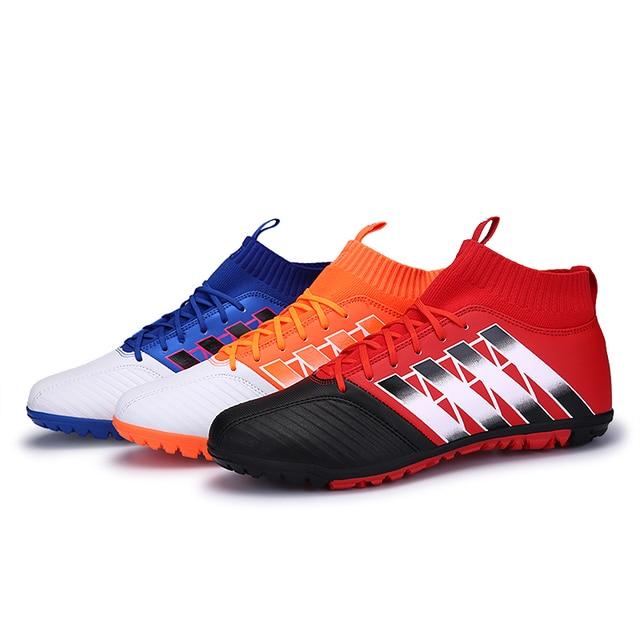 86506801125a5 Homens e mulheres novos sapatos de futsal chuteiras TF botas de futebol  profissional de alta tornozelo