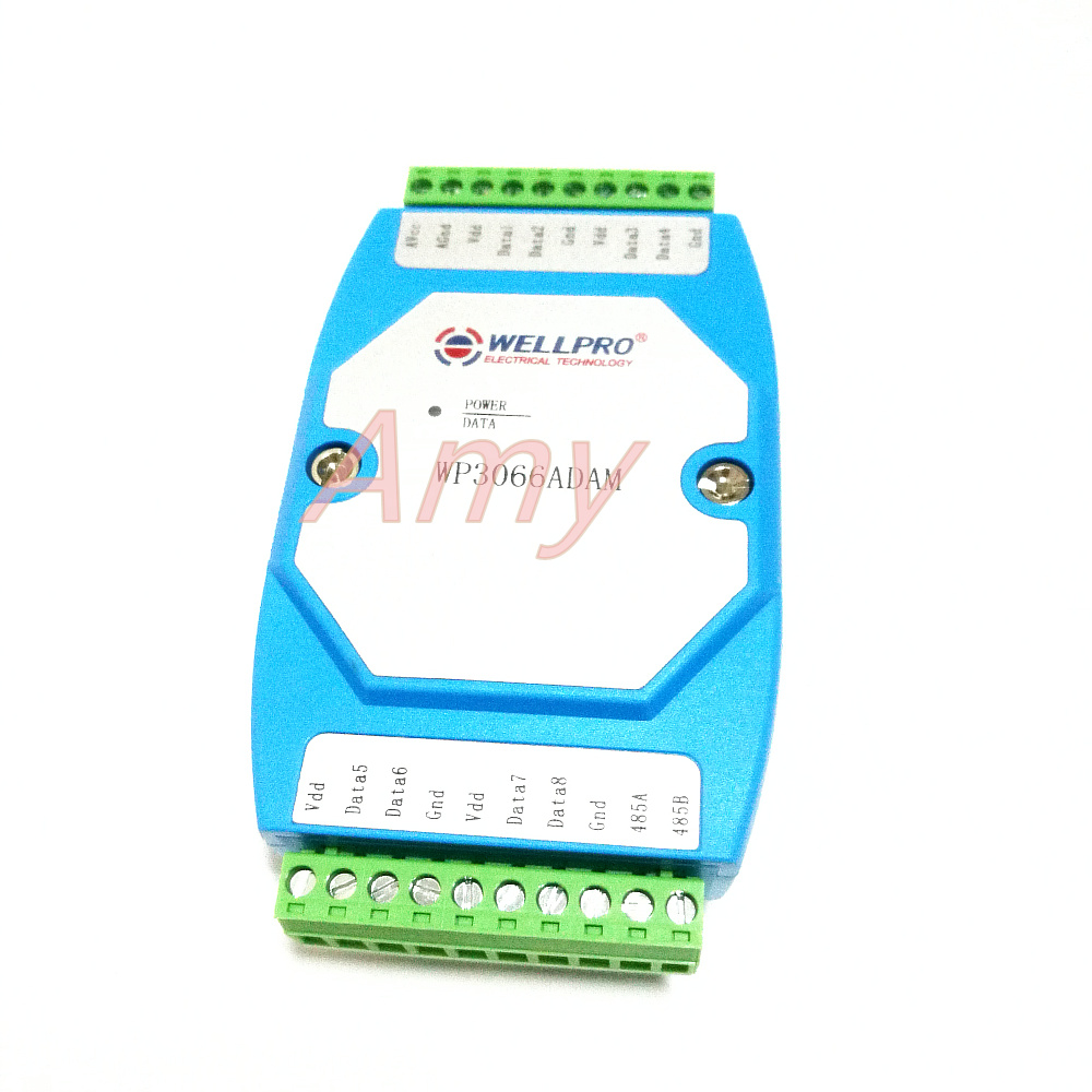 DS18B20 temperature acquisition module 8 raods RS485 MODBUS communication