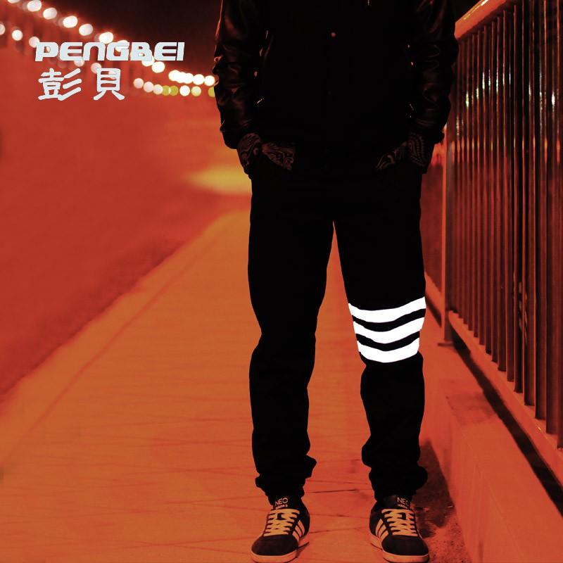Spring men pants baggy hip hop sport night running biker 3m reflective pants parkour jogger casual harem cargo trousers