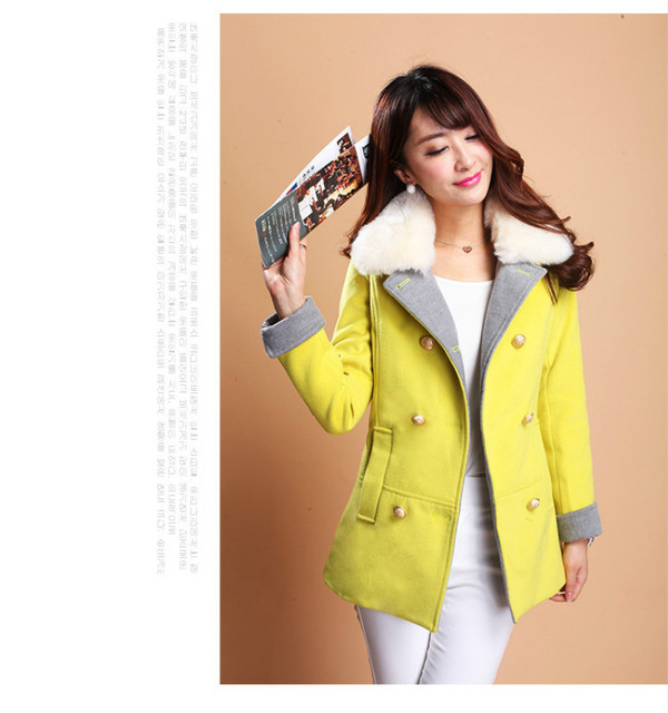 2016 Autumn winter double-breasted Woolen coat women Slim cotton thicken woolen jacket female Outwear large size women coat