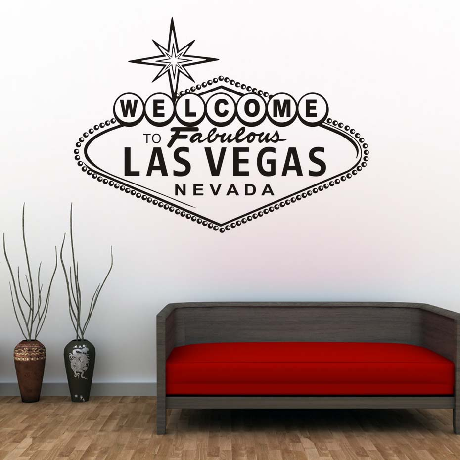 Welcome to fabulous las vegas wall stickers modern nordic design character vinyl art decorative wall decal for living room