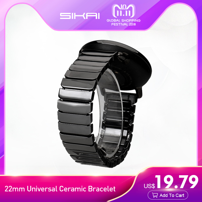 SIKAI 22mm Universal Ceramic Bracelet For Huami Amazfit Stratos 2/2S Strap Smartwatch Band Strap For 22mm Smart Watch Bands sikai 22mm soft silicone watch band with protective case for huami amazfit pace bracelet case smartwatch band wristband straps