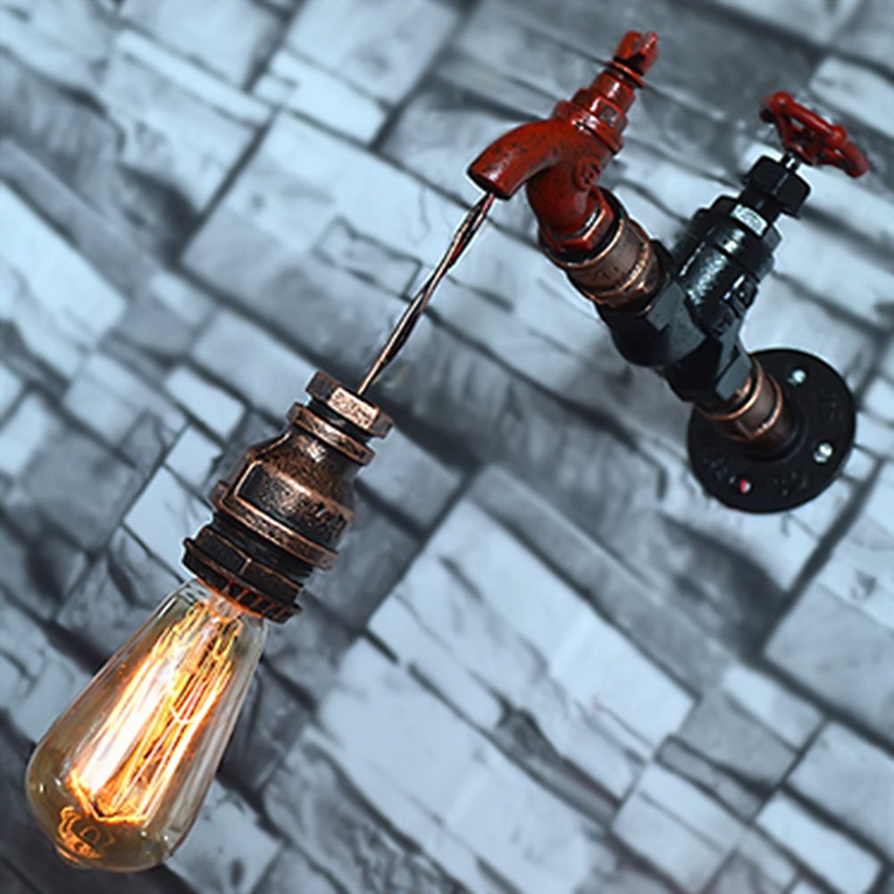 E26/E27 Edison Bulb Amercian Loft Style Water Pipe Wall Sconce RH Retro Wall Light Fixtures For Home Vintage Industrial Lighting retro loft style industrial vintage wall lamp edison wall sconce 2 lights water pipe wall light fixtures home lighting e27 bulb