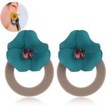 QTWINDY Acrylic Flowers Round Pendant Drop Earrings For Women Summer Trendy Candy Color Earrings Jewelry Two Ways To Wear two tone round drop earrings