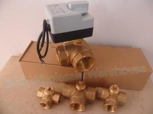 Image 2 - Robinet à bille motorisé en laiton, 3 fils, moteur à bille/actionneur électrique avec interrupteur manuel, AC220V DN15(G1/2 pouces) à DN32(G1 1/4 pouces)