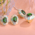 Blucome Luxurious Dubai Ouro Enamel Green Jewelry Set Rhinestone Earring Ring Necklace Sets Parure Bijoux Wedding Woman Gifts