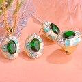 Blucome luxuoso dubai ouro esmalte conjunto de jóias de strass verde brinco colar anel define parure bijoux presentes de casamento mulher