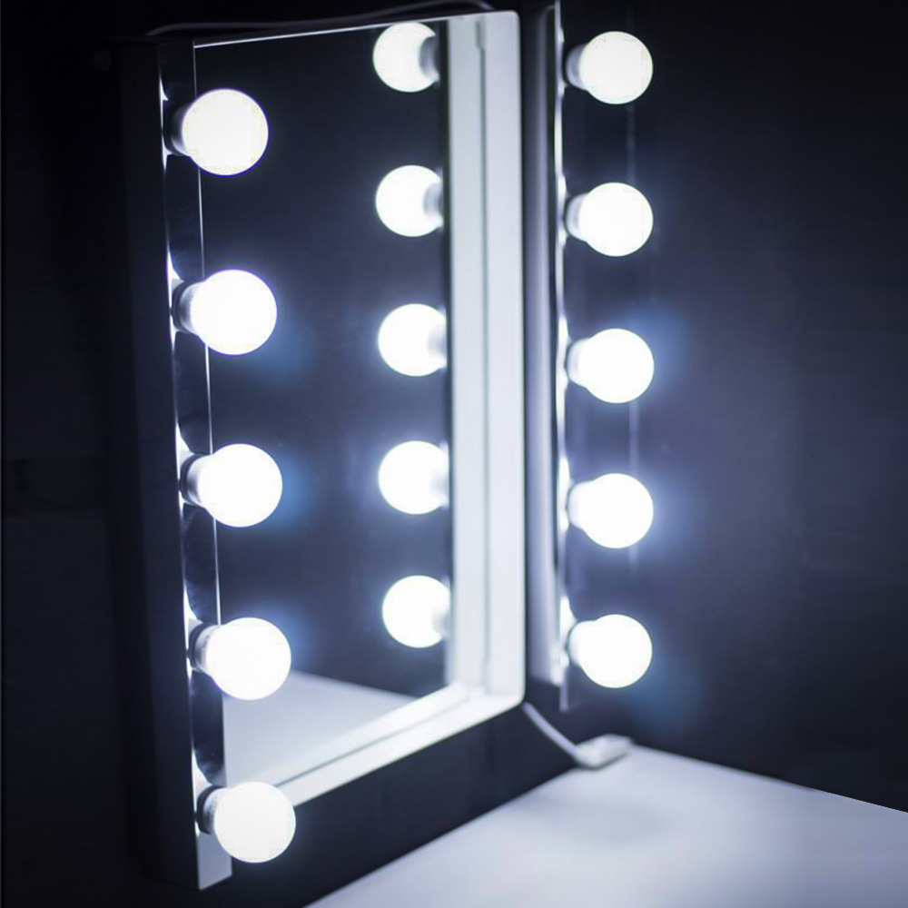 10pcs LED Modern Dressing Table Mirror Vanity Light DIY Make-up Mirror Lamp Stepless Dimmable Hollywood Mirror Wall Lamp Bulbs