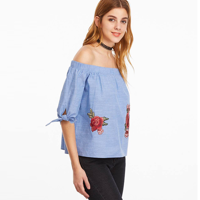 Casual Slash Neck Off Shoulder Top Embroidery Floral Print Half Sleeve Blue  Cool Blouse Shirts Blusa