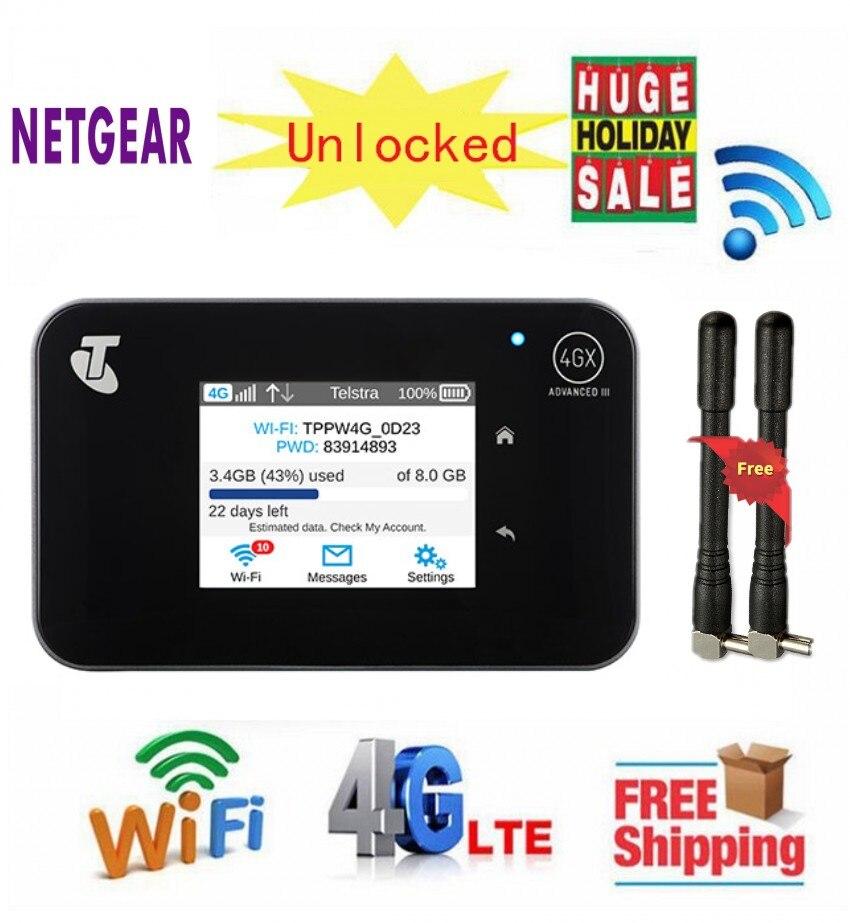 Débloqué Aircard AC810S 810 S Cat11 600 Mbps 4GX Avancé III 4G LTE Mobile Hotspot + 2 pièces Antenne
