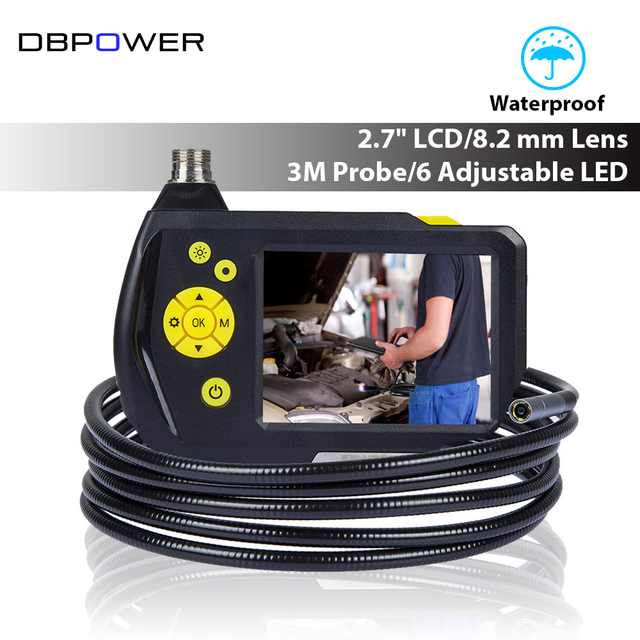 """DBPOWER 8.2mm 2.7"""" LCD Endoscope Inspection Camera 3M Flexible Tube Professional Borescope 360 Rotation DVR with 6LED Zoom Up"""