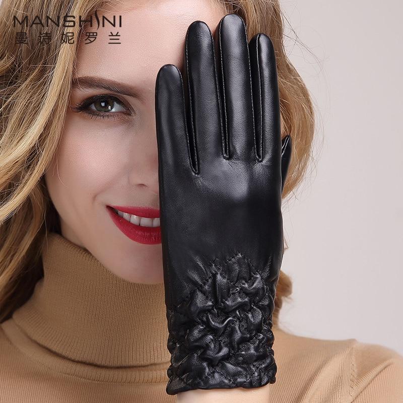 Genuine leather gloves womens thickening sheepskin winter warm riding driving telefingers 037