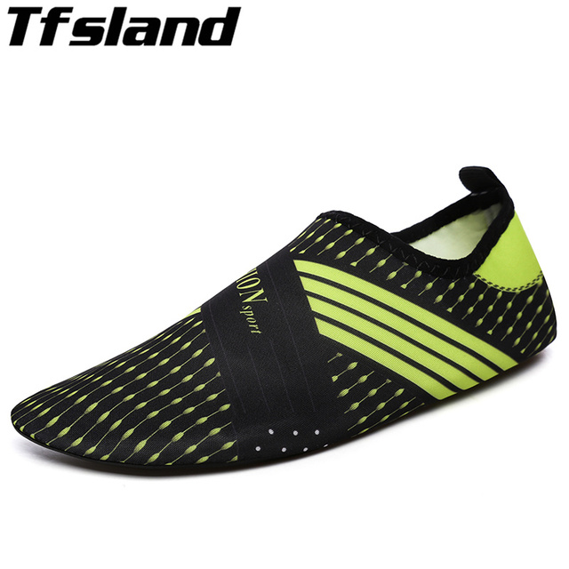 d9ecbd12012c Men Woman Barefoot Skin Sock Striped Shoes Snorkeling Beach Pool Water  Socks GYM Beach Swim Slipper On Surf Aqua Shoes Sneakers