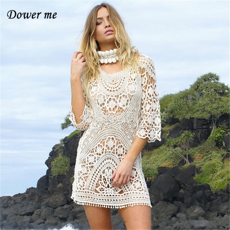 Летнее женское платье Vestidos Дамская мода платья выдалбливают три четверти рукав женские простые пикантные кружевные пляжные платья SH9009