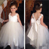 Ellie Bridal Flower Lace White Satin Christening Princess Ivory Dress First Date Girl Dress