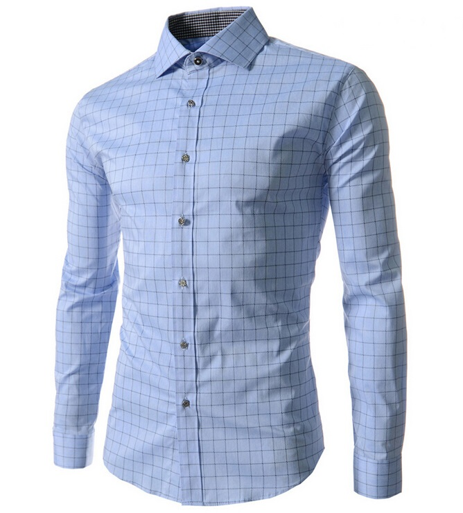 a6da07dfe7be Men Shirt Fashion Plaid Shirt Long Sleeve Flannel Business Shirt Checkered  Dress Slim Stylish Mens Casual Shirt white-in Casual Shirts from Men's  Clothing ...