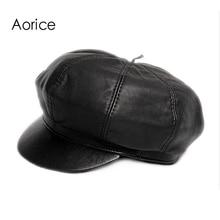 Aorice Genuine Soft Leather Driving Flat Cap 2017 Autumn Winter Mens Stylish Fashion Outdoors Sport Keep Warm Hat Black HL010