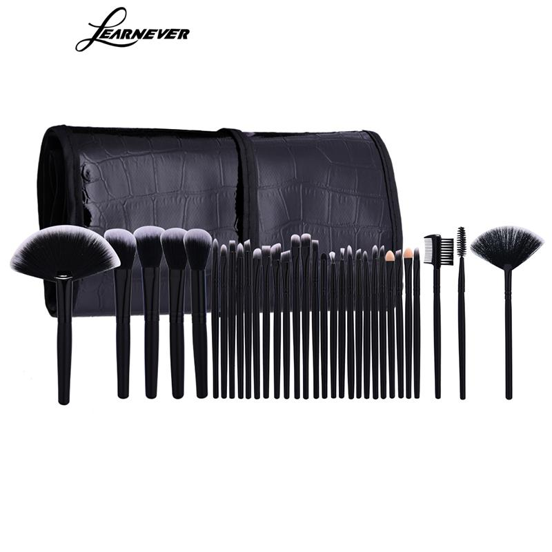 LEARNEVER 32 Pcs Professional Makeup Brushes Set For Women Fashion Soft Face Lip Eyebrow Shadow Make Up Brush Set + Pouch Bag make up for you professional face deep clean soft make up brush yellow white