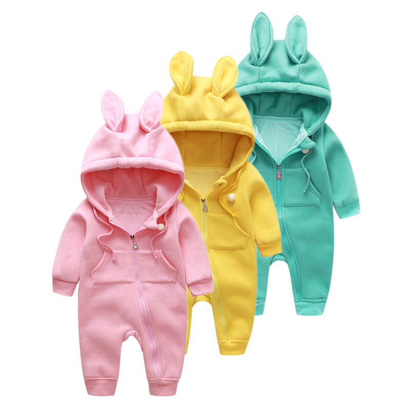 Newborn Cartoon Long Eared Rabbit Style Baby Girls Boys Romper Jumpsuit Clothes during Spring And Autumn  pure  Cotton clothes puseky 2017 infant romper baby boys girls jumpsuit newborn bebe clothing hooded toddler baby clothes cute panda romper costumes