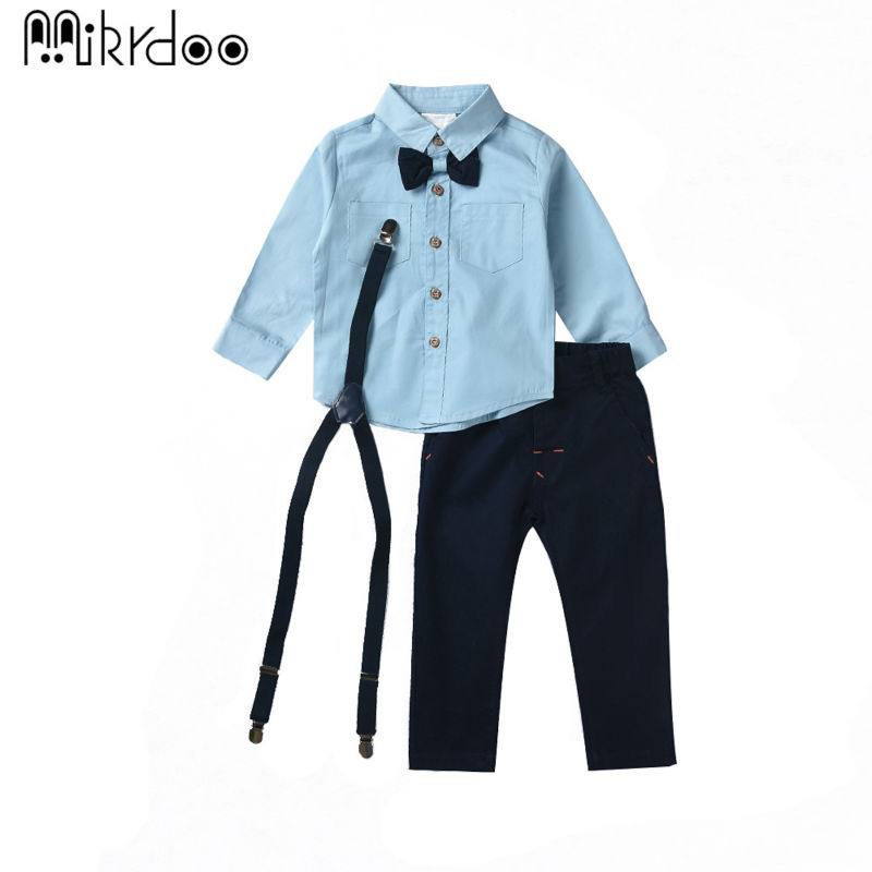 Boys clothes kids shirt top children Suspender Straps and Pants Clothing Sets long sleeve cotton gentleman outfit formal costume 2017 new boys clothing set camouflage 3 9t boy sports suits kids clothes suit cotton boys tracksuit teenage costume long sleeve