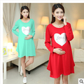WEONEDREAM New Autumn Maternity Dresses,Long Sleeve With Love Sign O-neck Korean Causal  Maternity Clothing Free Shipping