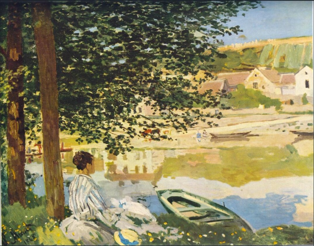 High quality Oil painting Canvas Reproductions On the Bank of the Seine, Bennecourt (1868) By Claude Monet Painting hand paintedHigh quality Oil painting Canvas Reproductions On the Bank of the Seine, Bennecourt (1868) By Claude Monet Painting hand painted