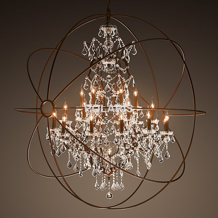 Crystal Chandelier Cheap: Country Vintage Orb Crystal Chandelier Lighting RH Rustic Candle Chandeliers  LED Pendant Hanging Light for Home,Lighting