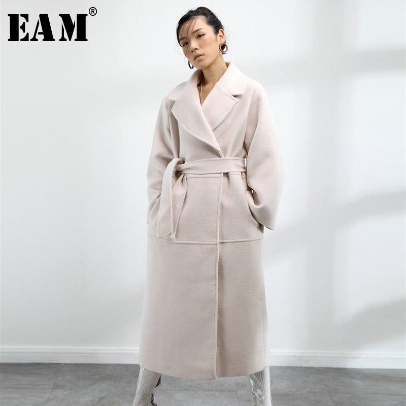 [EAM] 2019 Nouveau Printemps Femmes De Mode Marée Solide Couleur Tempérament Pur Surdimensionné Réglable Taille WollenCoat LA161