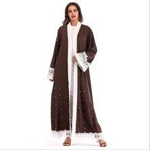 Muslim Embroidery Lace Beading Arab Islamic Prayer Service Clothing Abaya Cardigan Dress Long Robe Gowns Tunic Kimono Ramadan