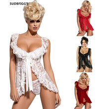 Plus size Women sexy lingerie  Hot Sex Costume ladies Open Lace Slips