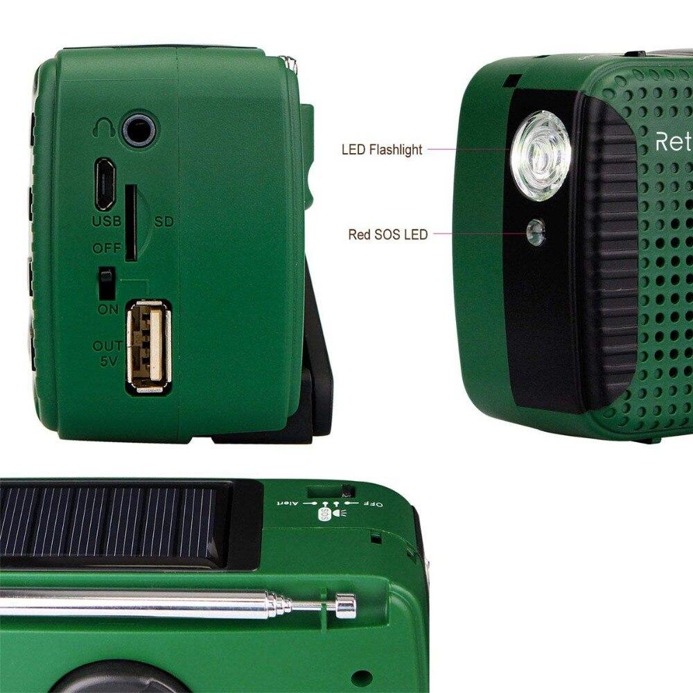 Image 3 - Retekess HR11S Radio durgence manivelle Radio solaire FM/MW/SW  Bluetooth lecteur MP3 enregistreur numérique Portablehand crank solar  radioemergency radiosolar radio