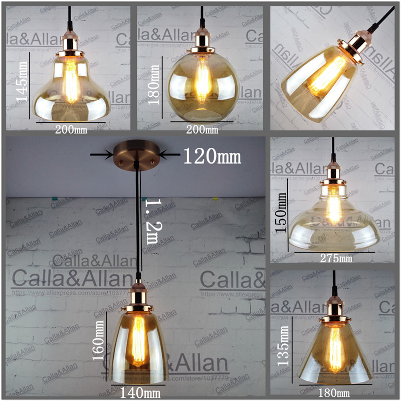 Rose gold holder Edison Amber glass shades Pendant Light Fixture Hanging lamp Retro Industrial Pendant Lamp with fabric wire