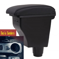 For Dacia Sandero armrest box central Store content Storage box Dacia stepway armrest box with cup holder USB interface