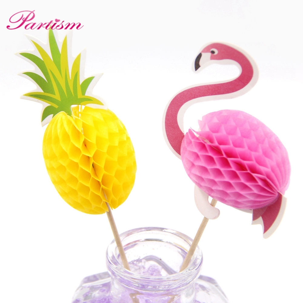20PCS Flamingo Cupcake Toppers DIY Cakes Topper Picks Pinapple Topper Wedding/Birthday Party Decoration Baby Shower Supplies