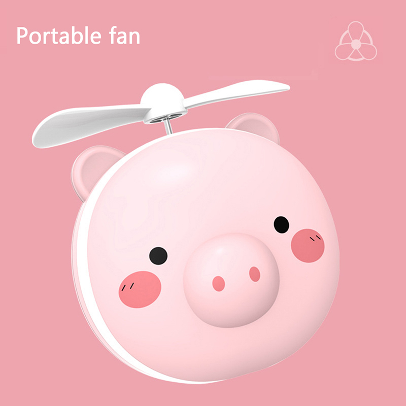 Купить с кэшбэком Portable Cartoon Pig Makeup Mirror With LED Fill Light USB Charging Fan Makeup Pocket Handheld Summer Outdoor Night Light