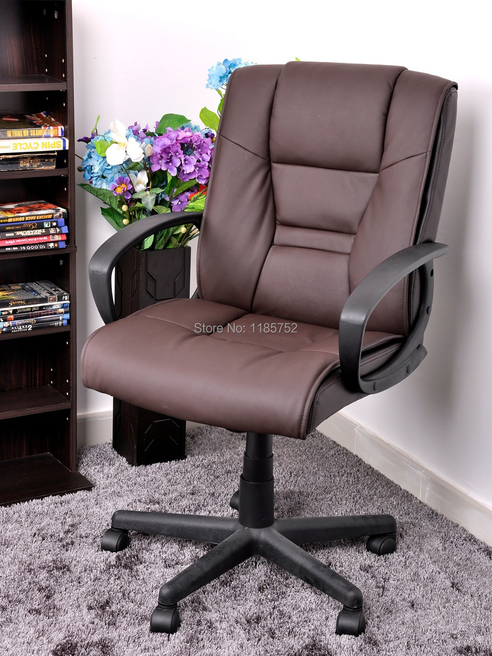 New Home Furniture Chair Brown Pu Leather Metal Computer With Arms Swivel Office