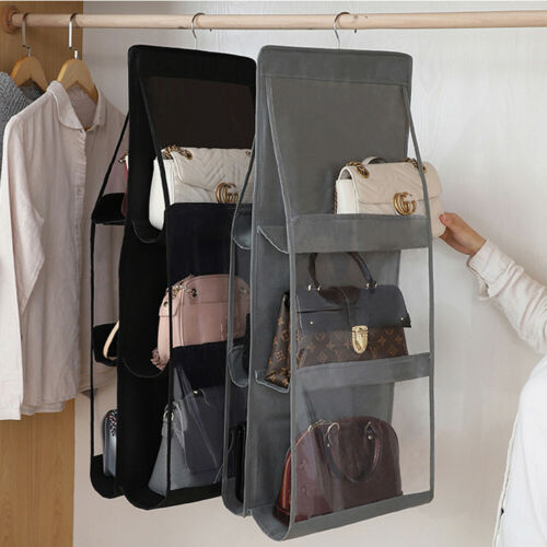 6 Pocket Foldable Hanging Bag 3 Layers Folding Shelf Bag Purse Handbag Organizer Sundry Pocket Hanger Storage Closet Hanger