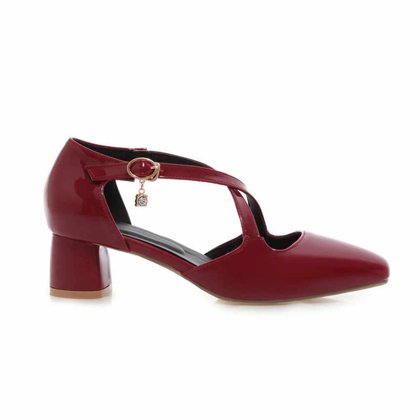 Frauen Low High Heels Pumps Hohe Ferse Schuhe Frau Partei Hochzeit Schuhe Kitten Heels Plus Größe 32-40 41 42 43 44 45 46 47 48