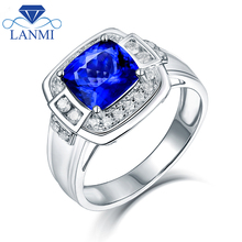 Simple DesignCushion 8mm Natural Tanzanite Wedding Men's Rings Real Solid 14K White Gold Shinning Diamond for Husband Gift