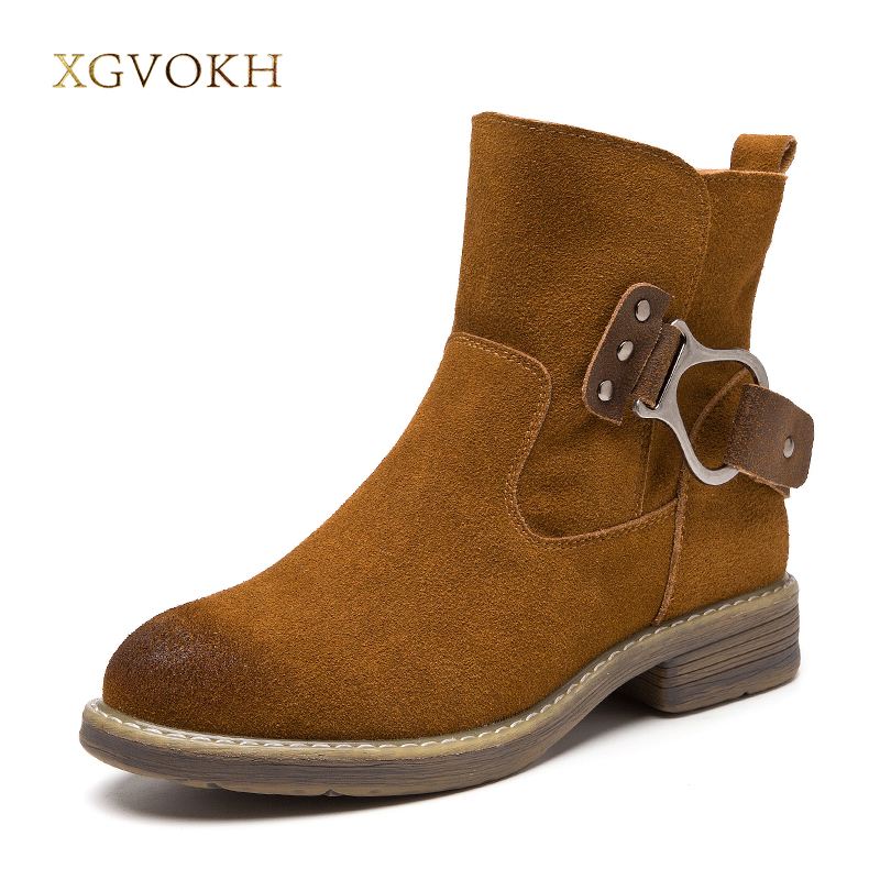 Women Cow Leather Boot Spring/Autumn Button fashion Ankle Boots XGVOKH Brand Short Boot Women's Brown/Black Shoes цена и фото