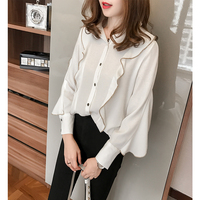 4xl Ruffled Cute Sweet White Shirts Female A4451