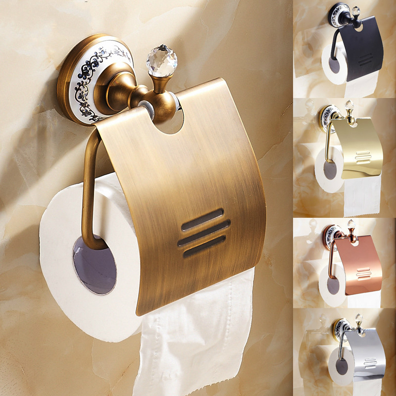 European Antique Toliet Paper Holder Luxury Crystal Porcelain Wall Mounted Brass Tissue Roll Holder Bathroom Accessories the ivory white european super suction wall mounted gate unique smoke door