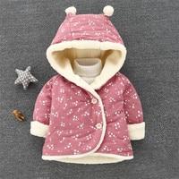Baby Girls Coats Newborn Outwears Plaid Jacket Kids Autumn Warm Coat Rabbit Ear Clothing HoodedCotton Children