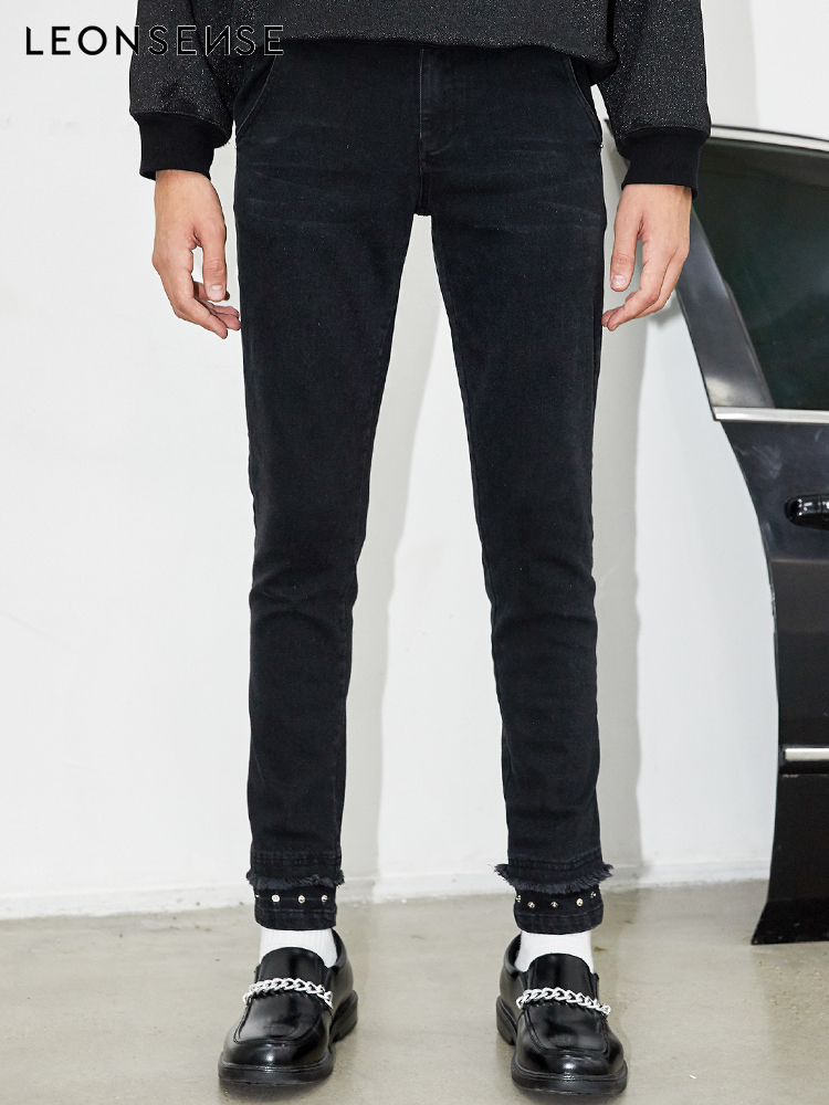 LEONSENSE 2018 Spring New Men Jeans Black Classic Fashion Designer Denim Skinny Jean Men's Casual High Quality Slim Fit Trousers