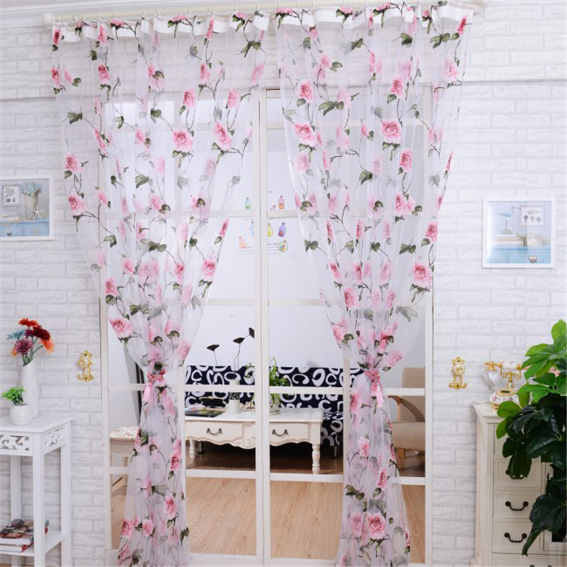Luxury Floral Tulle Window Sheer Voile Window Screening Tulle Noble Curtains For Living Room The Bedroom Kitchen Panel Blinds