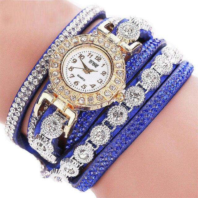 #5002CCQ Women Fashion Casual Analog Quartz Women Rhinestone Watch Bracelet Watc