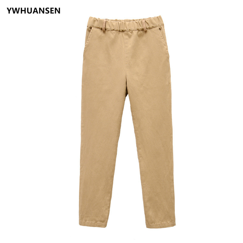 YWHUANSEN Girls Boys' School Uniforms Cotton Pants Khaki Black Deep Blue Full Length Juniors Children's Trousers Elastic Waist