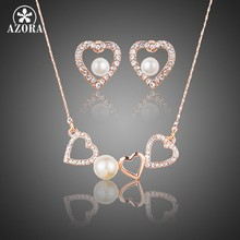 AZORA Romantic Rose Gold Color Stellux Austrian Crystal Pearl Heart Stud Earrings and Pendant Necklace Jewelry Set TG0189(China)